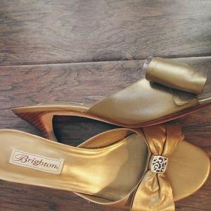 "Brighton Sz 10M ""Tropic"" Gold Bow Heels/Slides"